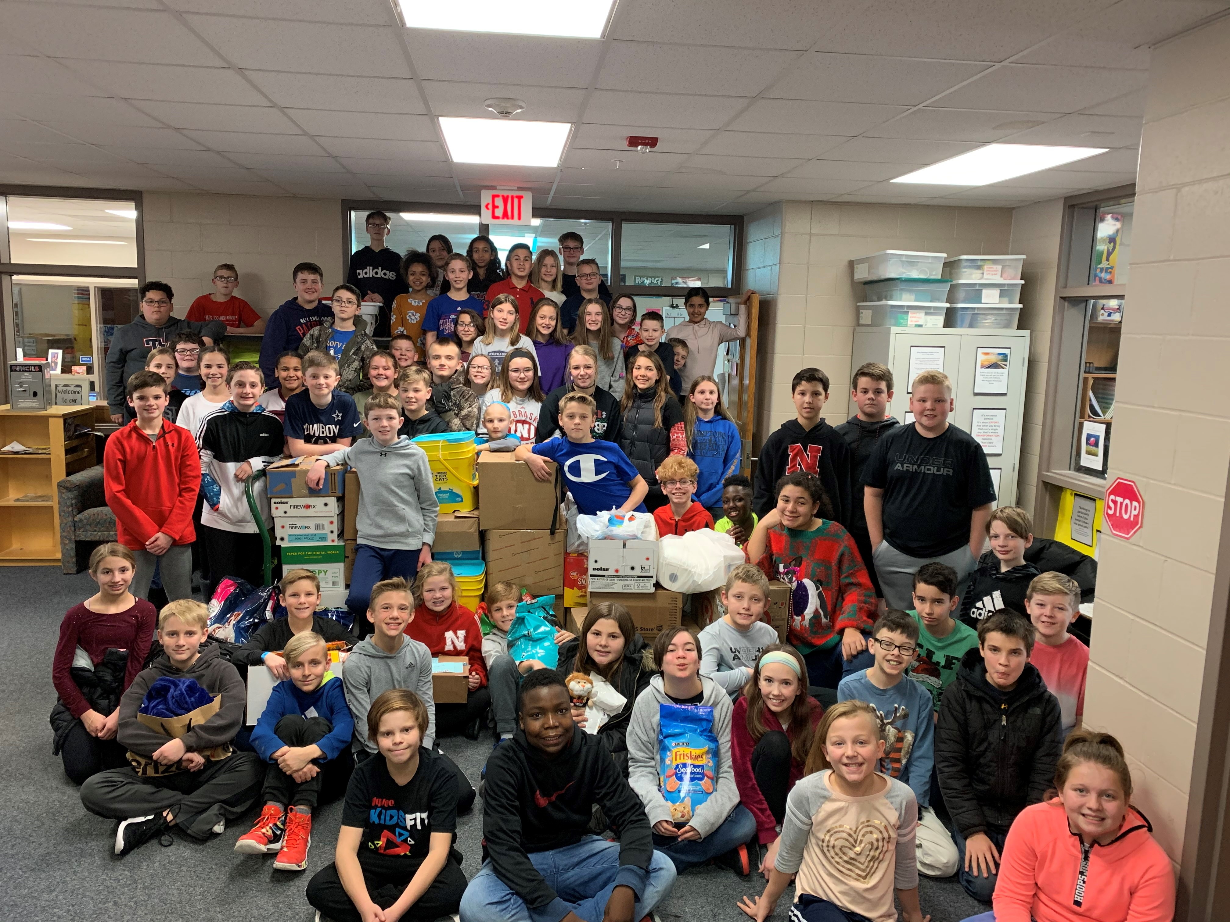 Hickory Hill Elementary 6th graders donate to NE Humane Society in lieu of holiday party