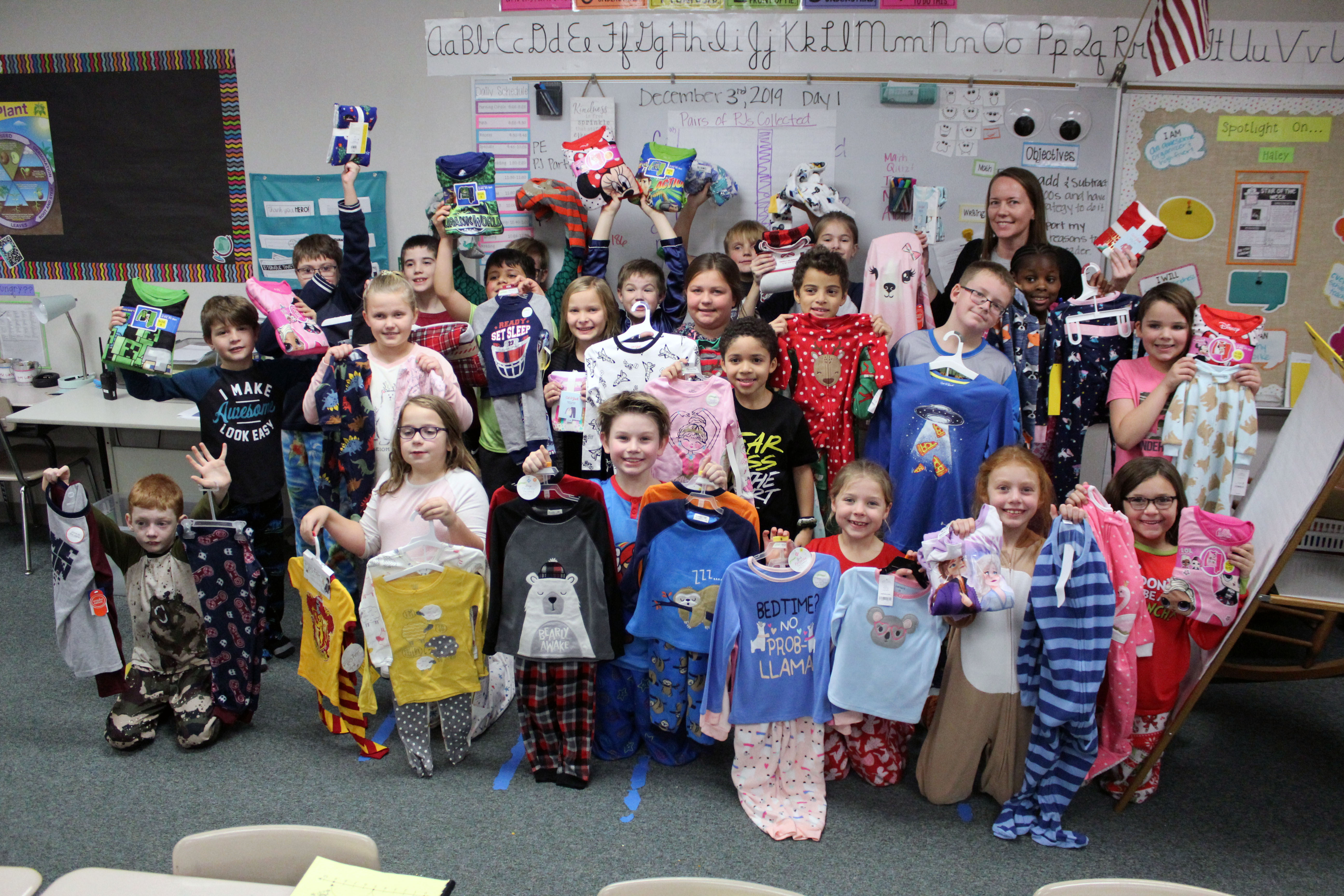 Hickory Hill Elementary 3rd grade class donates 43 pairs of pajamas for those in need