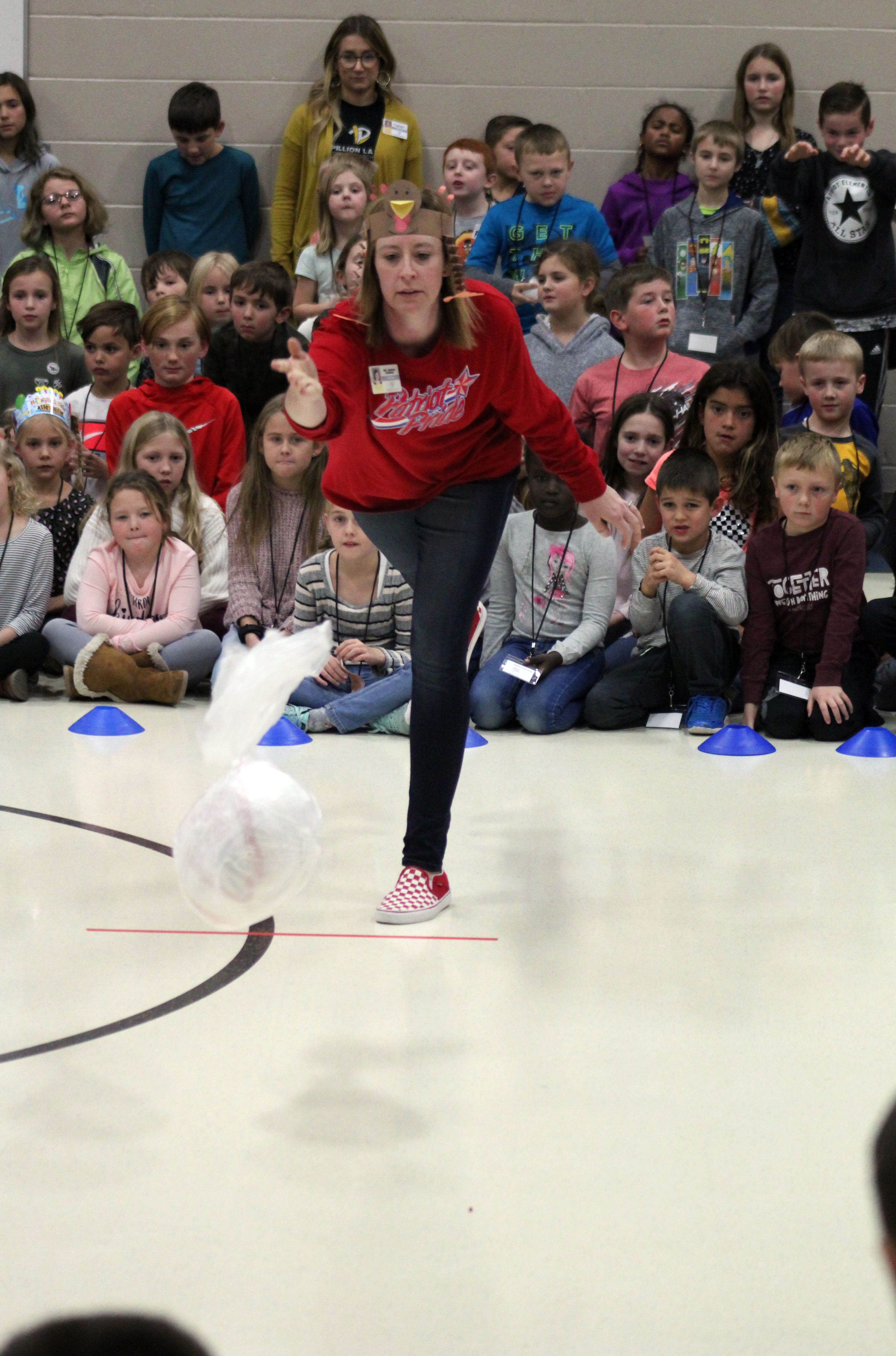 Kindergarten teacher Sarah Deming bowled her way to first place with a frozen turkey