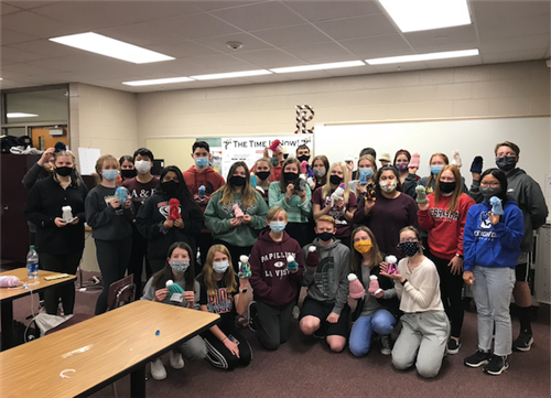 PLHS students knit hats for premature babies