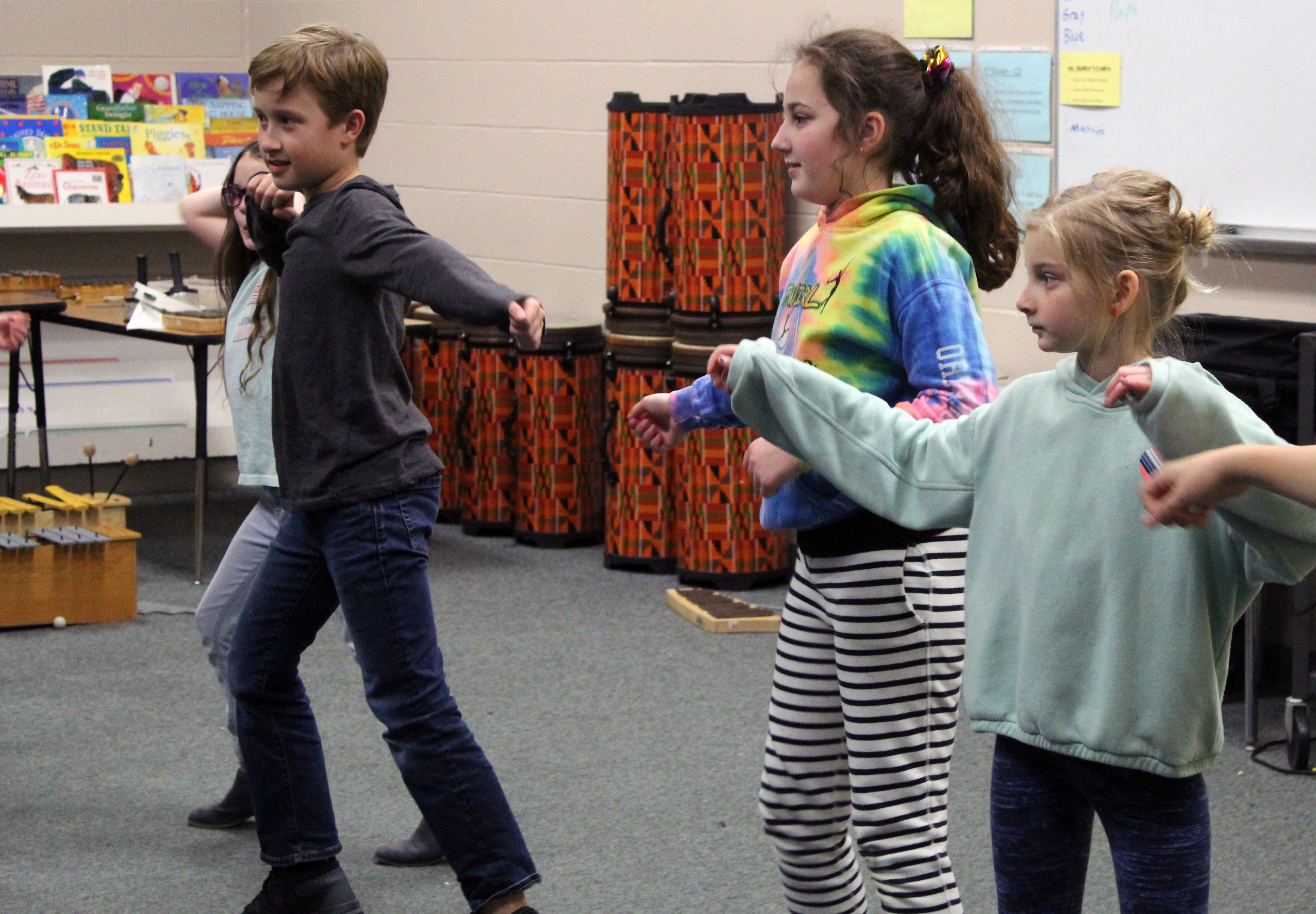 students learn to dance