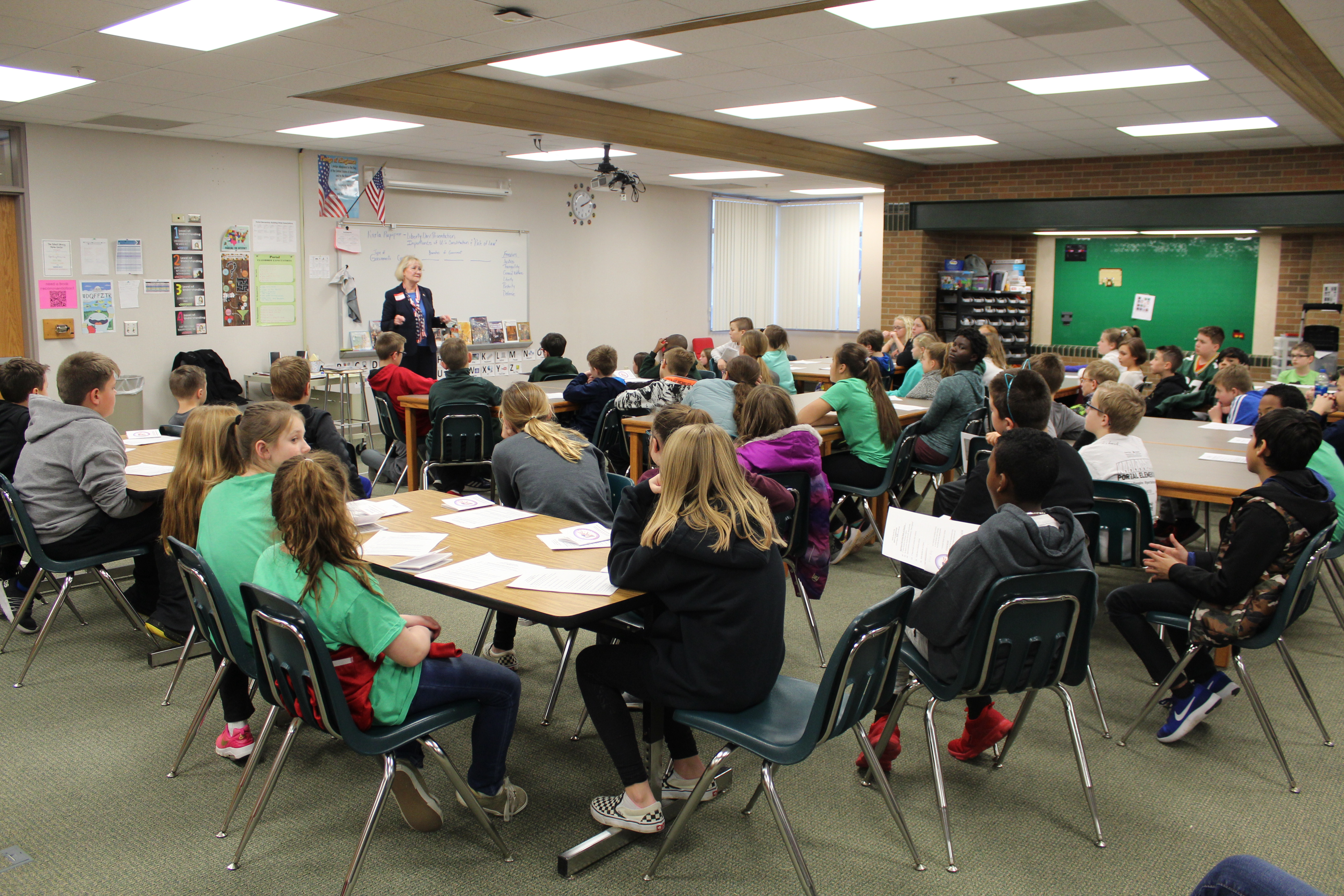 Papillion City Attorney Karla Rupiper speaks to students