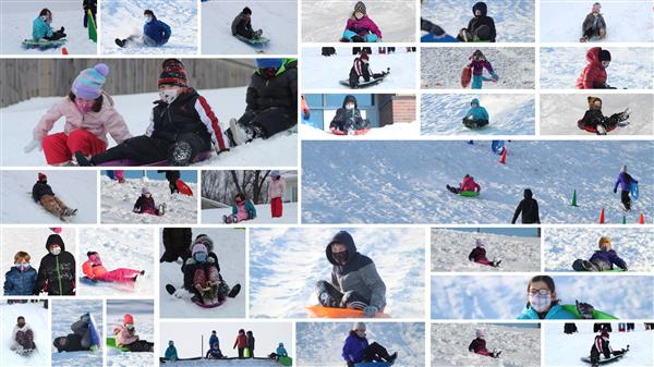 Collage of photos of students sledding in PE class
