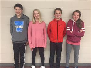 Papillion Middle School students Joshua Blazek, Elizabeth Ford, Tyson Hirschbrunner and Rachel Pearson pose for a picture.