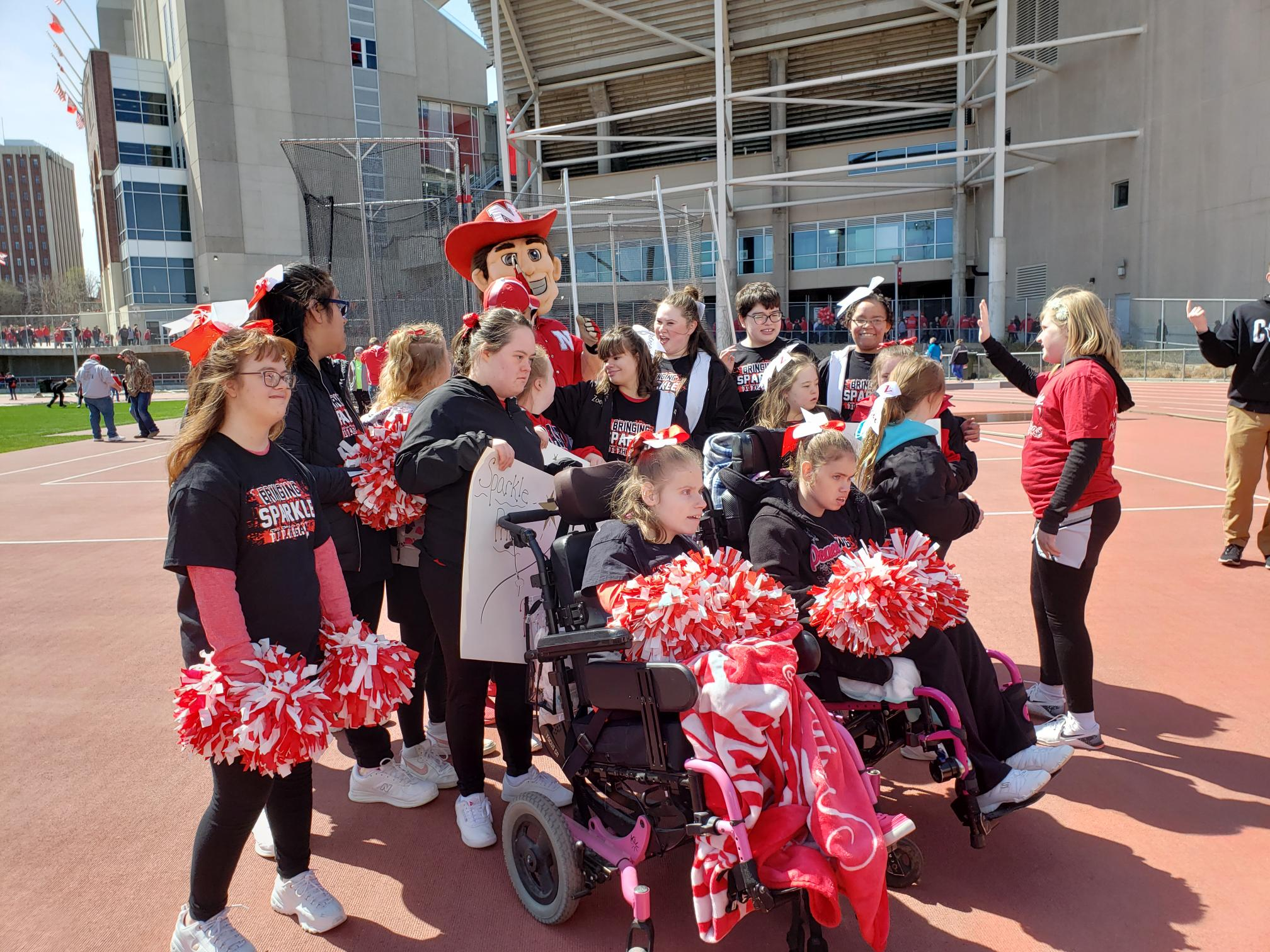 Sparkles Cheer Squad at Husker Game