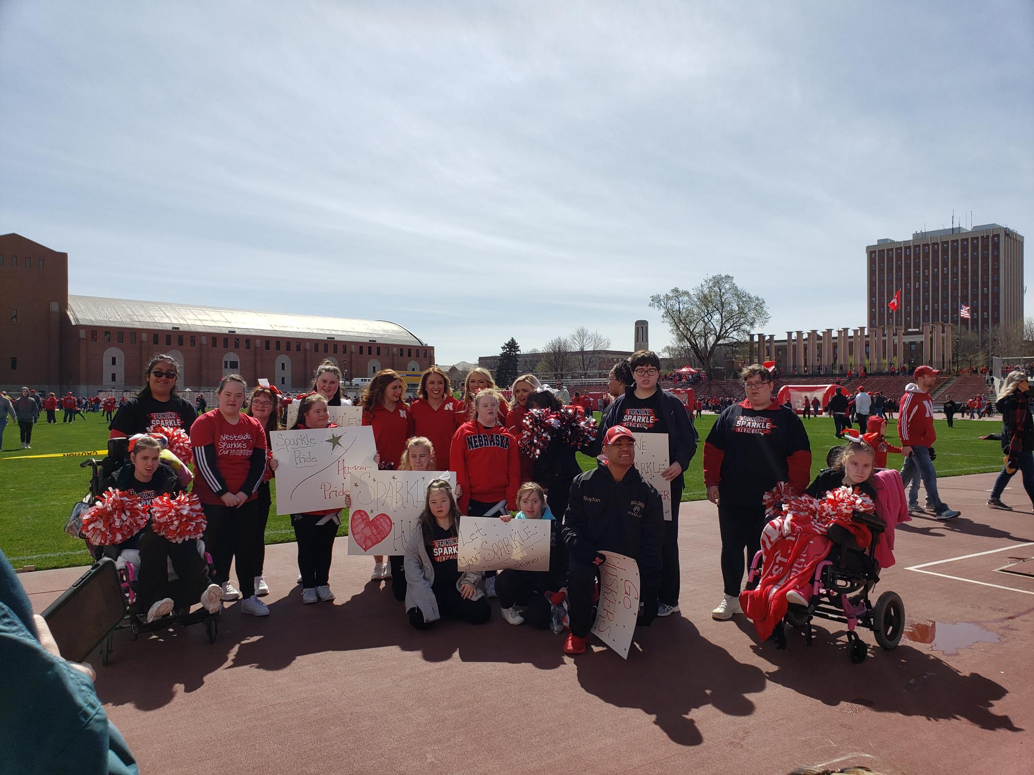 PLCS Sparkles Cheer Squad perform at Husker spring game