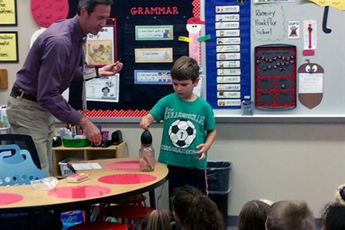 KETV meteorologist Bill Randby visited with first-graders at Rumsey Station Elementary School.