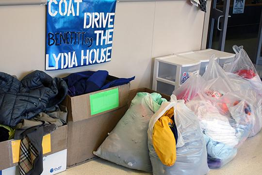 Coats donated for the Lydia House were collected by Support Behind the Blue at Portal, shown here,