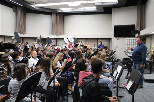 Two students study in the media center inside Papillion Middle School