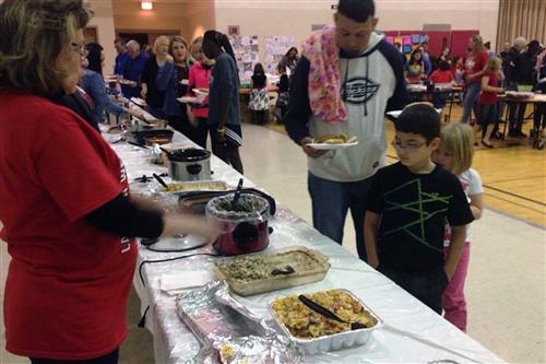 Families from La Vista West Elementary School gathered together on Nov. 10 for a meal.