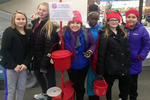 La Vista West student council members rang bells for the Salvation Army