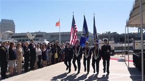 PLCS NJROTC team presenting the colors as part of the commissioning of the USS Omaha