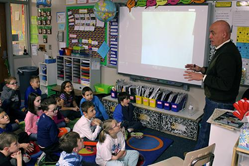Author Bruce Arant spoke with second-grade students at Patriot Elementary School