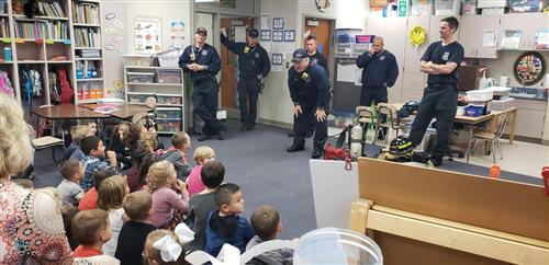 Members of the Papillion Fire Department visited Trumble Park during Fire Prevention month.