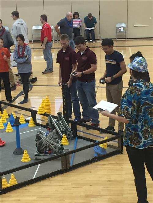PLHS teammates Dylan Rainey & Jacob Maguire of team Hazard compete in recent VEX robotics tournament