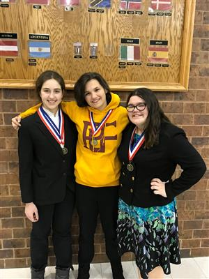 Members of the PLHSl Forensics team pose with their medals at Bellevue East.