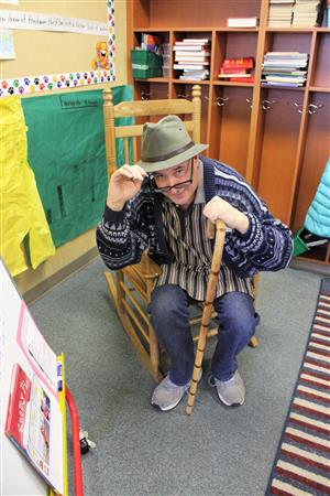 2nd Grade teacher Mark Welch dressed as a 100 year for 100th day of school.