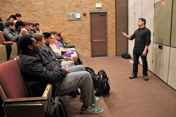 Paul Pape visits Monarch students about his career in the entertainment industry.