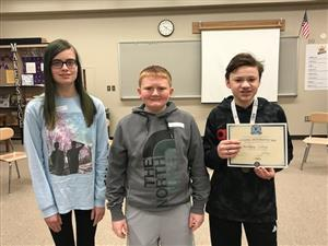 Top 3 La Vista Middle students in Geography Bee, Elizabeth Breinholt, James Kessler, Matthew Lilley.