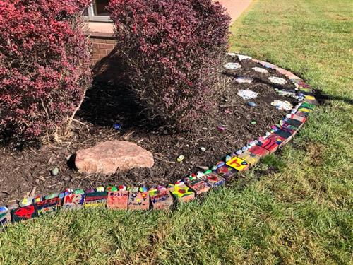 Rock garden planted in front of Rumsey Station Elementary