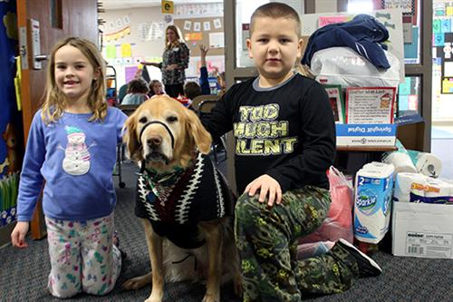 Summer, a therapy dog at Trumble Park, sponsored a pet supply drive