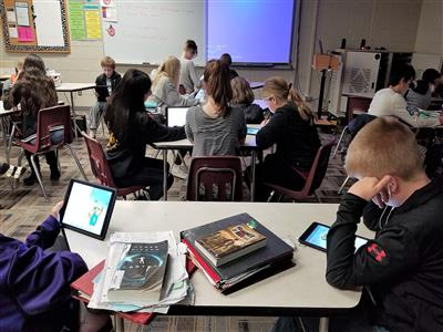 Students study inside a classroom at La Vista Middle School