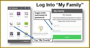 How to log into My Family section of PLCS Parent App.